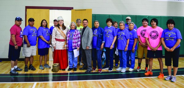 Miss Cherokee Taran Swimmer (center) is shown at the opening of the Jackson County Senior Games on Monday, April 18 where she sang the Cherokee National Anthem and the National Anthem. (Photo by Tina Swimmer)