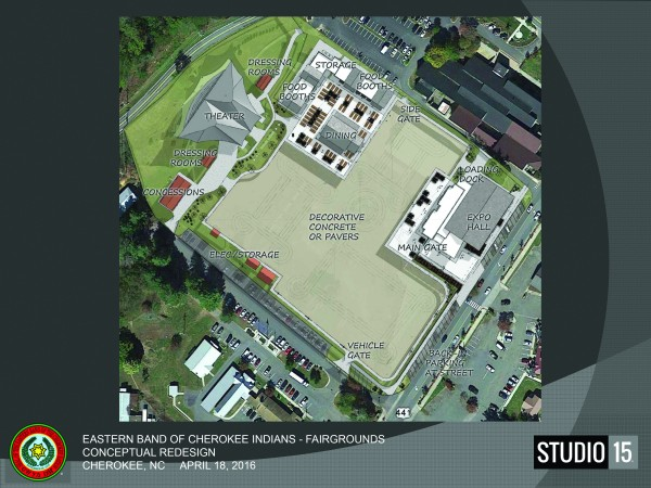 An artist's conceptual rendering shows a proposed expansion of the Cherokee Indian Fairgrounds.  Proposed changes include expanding food booths, moving stadium lights to the outer perimeter of the grounds, and providing more outdoor useable space and exhibit hall space. (Graphic courtesy of  Studio 15)