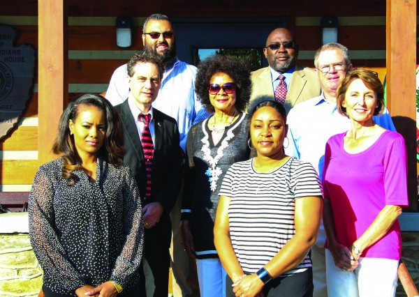 Members of the N.C. Boxing Authority are shown on the steps of the Tribal Council House on Friday, June 10 (left-right) front row – Tamara Lewis, Boxing Office assistant; India Smith, Boxing coordinator; middle row – Dr. Phillip Stephens, Commissioner; Joan Cremp; Dixon Fleming, Commissioner; Cathy Fleming; Cameron Cooper, Commissioner; and William A. Dudley, Chairman.