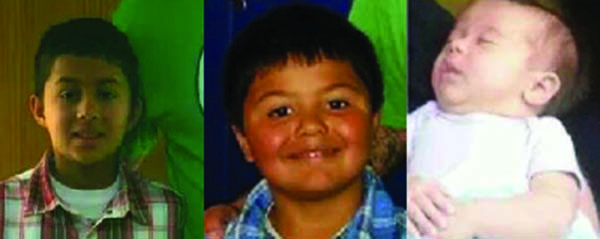 James Paul Owle (now 10), Samuel George Owle (now 7), and Evelyn Grace Arneach (now almost 2), all EBCI tribal members, were found recently living in Mexico. (Photos contributed)