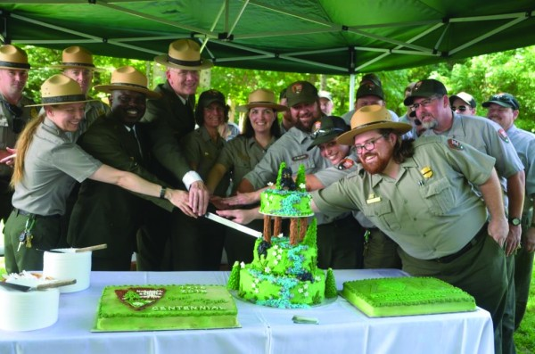 National Park Service employees celebrate the Centennial during a celebration in the Great Smoky Mountains National Park on Thursday, Aug. 25.  (Photos by Jack Williams/NPS)