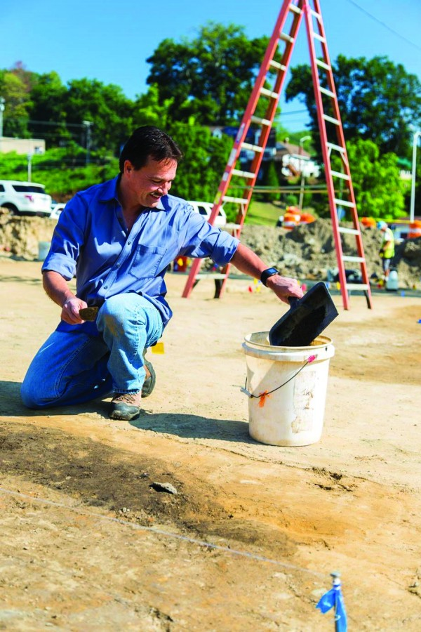 Chief Lambert participates in the archaeological work at the old Cherokee Elementary School site on Wednesday, Aug. 31.