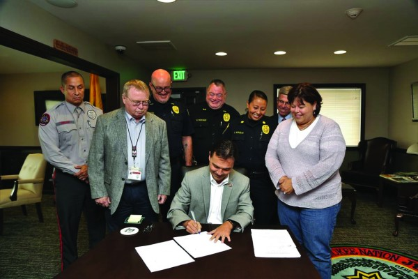 """Chief Lambert signs a 638 contract on Friday, Aug. 19. """"We were able to negotiate a contract that will provide almost 3 million dollars in this year directly to us from the BIA plus an annual recurring amount payment of almost 1 million yearly,"""" he stated."""