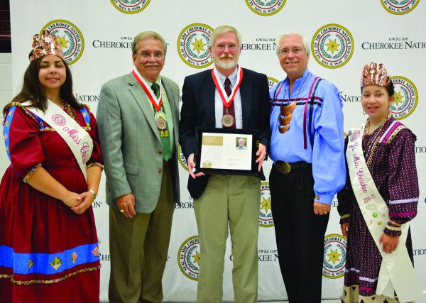 AWARD IN OKLAHOMA: Participating in the presentation of the Cherokee National Worcester Award during the 64th annual Cherokee National Holiday Awards in Tahlequah, Okla. are (from left) Miss Cherokee (Nation) Sky Wildcat, Cherokee Nation Deputy Chief S. Joe Crittenden, award recipient Brett Riggs, Principal Chief of the Cherokee Nation Bill John Baker and Junior Miss Cherokee (Nation) Lauryn McCoy. (WCU photo)