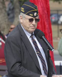 TIME TO REFLECT: Commander Lew Harding, Steve Youngdeer American Legion Post 143, gives remarks during Friday's ceremony.