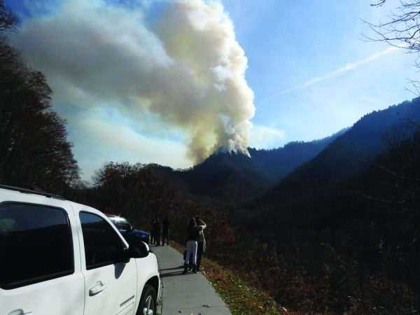 A fire, being called the Chimney 2 Fire, in the Great Smoky Mountains National Park is seen in this photo taken from Newfound Gap Road on Friday, Nov. 25. (NPS photos)