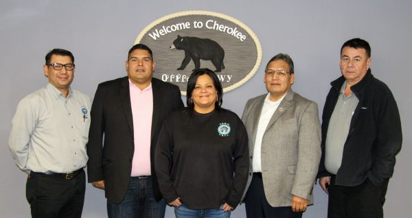 TERO MEETING: Lee A. Adolph (2nd from right), Council of Tribal Employment Rights president and chief executive officer, met with EBCI TERO Office staff and TERO Commissioners this past week. Shown (left-right) are Curtis Wildcatt, TERO compliance officer; Kevin Jackson, TERO Commission chairman; Mara Nelson, TERO program manager; Adolph; and Teddy Bird, TERO Commission. (SCOTT MCKIE B.P./One Feather)