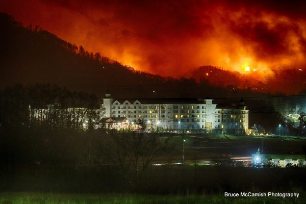 DEVASTATING: A total of seven confirmed fatalities were reported along with 700 confirmed structures (300 in Gatlinburg and 400 in other parts of Sevier County) lost to the Chimney Tops 2 Fire. (Photo by Bruce McCamish Photography, per Chimney Tops 2 Fire Facebook page)