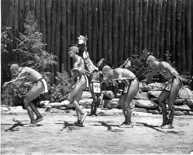 """This historical photo, from the Museum of the Cherokee Indian archives, shows a dance during the inaugural 1950 season of """"Unto These Hills""""."""