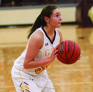 Tori Teesateskie, sophomore guard, is leading the team with 66 points (16.5/gm).